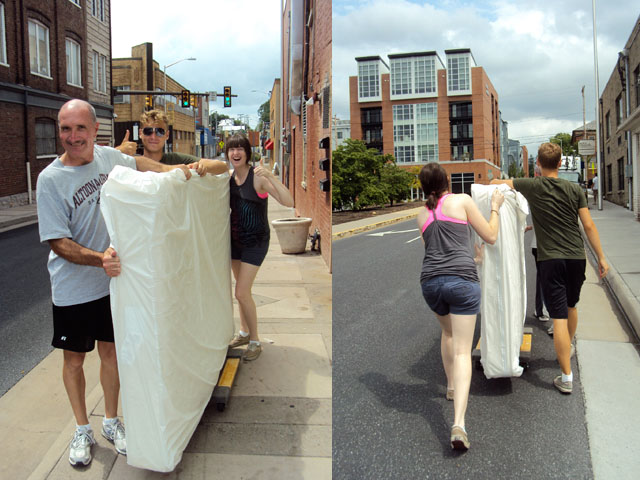 Pushing my mattress down the street.